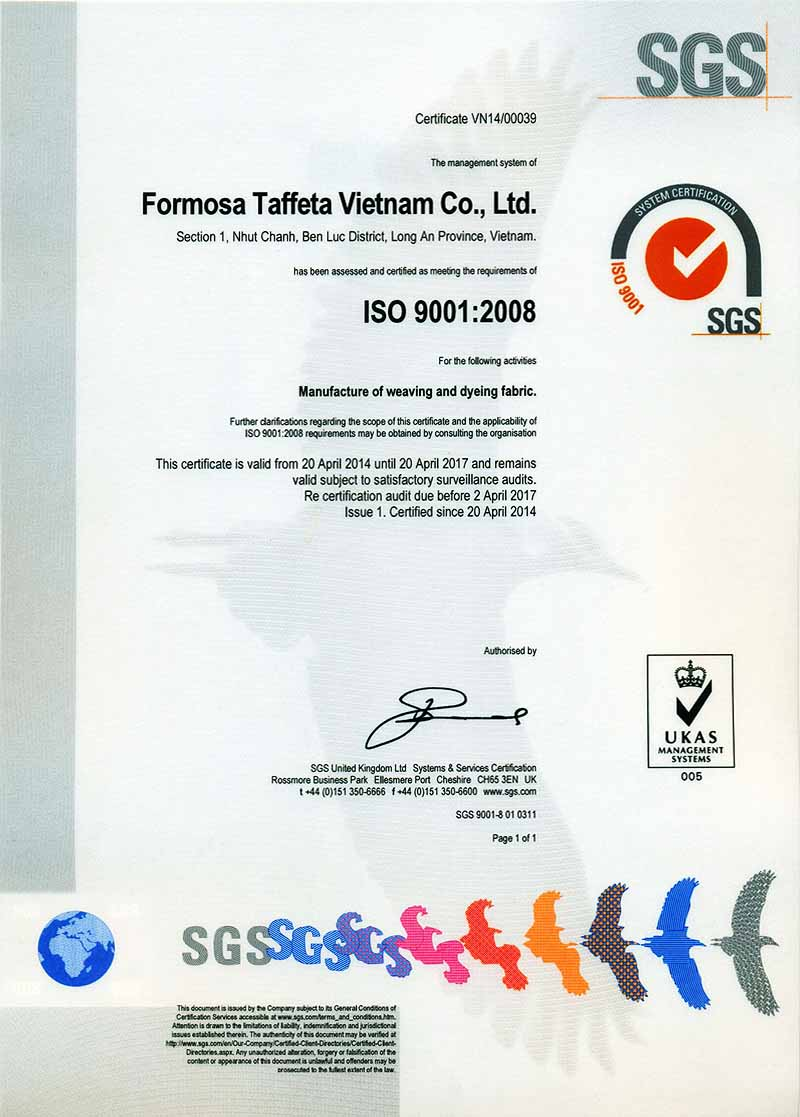 FTC ISO 9001 Certificate for Vietnam Plant